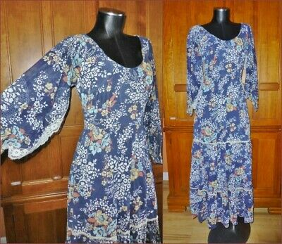 Vtg 70s Gauze Cotton Floral Print Hippie Prairie Festival Boho Party Maxi DRESS