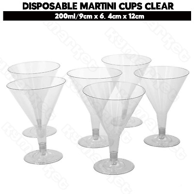 PK60 Plastic Disposable Martini Cups Glasses 200ml Clear Wedding Party Reusable