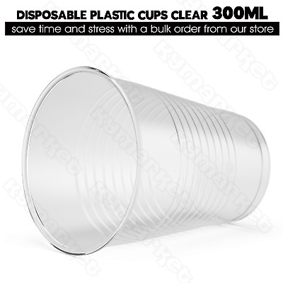 PK160 Plastic Disposable Cups Glasses 300ml Clear Wedding Party Reusable BULK