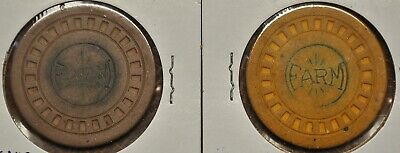 FARM Illegal Casino Yellow & Brown 2 Clay Poker Chips  Montgomery Alabama