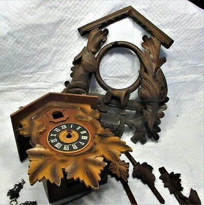 Vintage  cuckoo clock parts Clock  Hunter Front 4 Weights 3 Pendulum And More