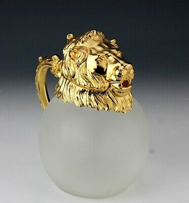 VTG Hollywood Regency Style Gold Gilt Lion Head Frosted Glass Decanter NR LMA