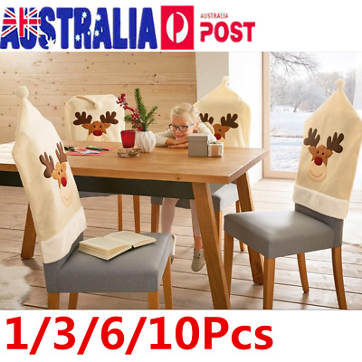 10Pcs Cute Deer Elk Hat Christmas Chair Back Cover Dinner Table Party Xmas Decor