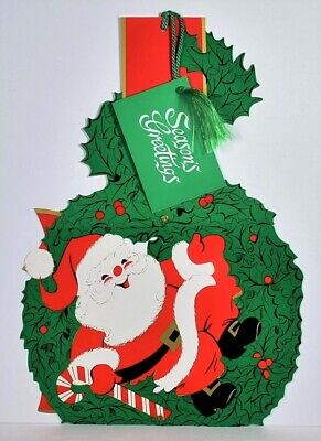 Vtg. SANTA on Wreath, Candy Cane, Bow Jointed HENRI FAYETTE Christmas Decoration