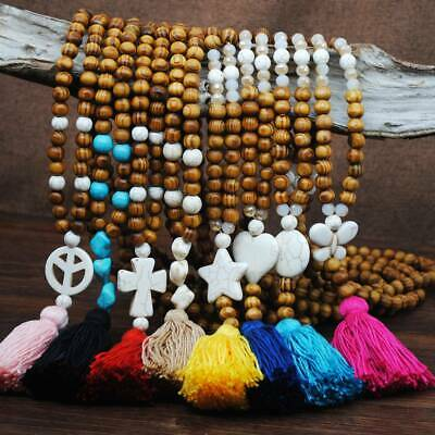 Hot Fashion Handmade Wood Beads Bohemian Necklace Long Bow Tassel Sweater Chain