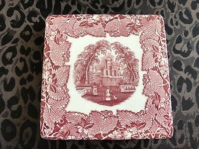 Masons Vista Pink/Red Square Trivet-1940's