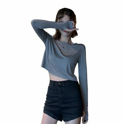 Women's Fashion Slim Crop Tops Trend Striped Pattern Korean Style T-shirts