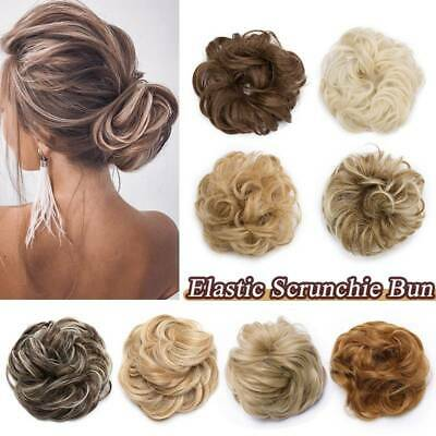 100% Real Scrunchie Messy Bun Hair Extensions As Human Chignon Blonde Hairpiece