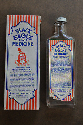 Black Eagle Brand Medicine ~ Laxative ~ Vintage Bottle Insert Box