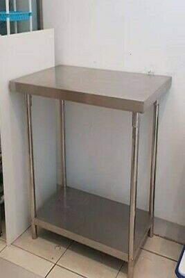 Commercial kitchen stainless bench with shelf (used) in GC 900w x 600d
