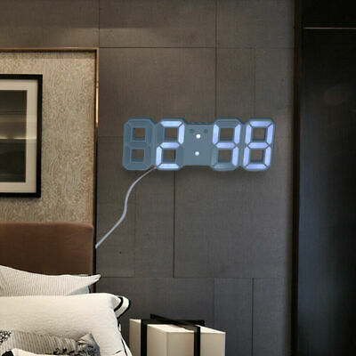 Digital 3D LED Wall/Desk Clock Snooze Alarm Big Digits Auto Brightness Clock UK