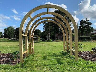 Wooden Garden TRIPLE Walkway Arch, Rounded Arch