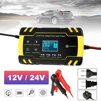 12V/24V Intelligent Car Battery Charger Pulse Repair Starter AGM/GEL 8 Amp HM UK