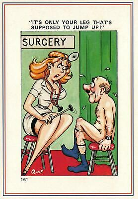 Large Rude Risque Comic Europa Lady Doctor Testing Man's Reflexes Postcard - New