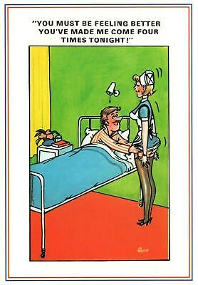 LARGE RUDE RISQUE COMIC EUROPA NURSE COMING for PATIENT 4 TIMES POSTCARD - NEW