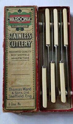 Vintage Cutlery Rare - Set Of 6 Stainless Steel Knives 'Wardonia Sheffield'