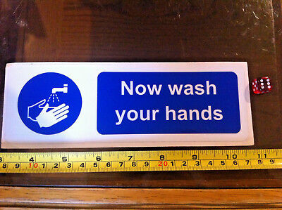 Now Wash Your Hands Cooking Sanitary Blue Safety Sticker Sign New 194mmx64mm