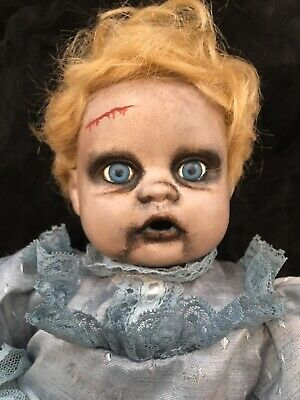 """Ooak Porcelain Doll Creepy Horror Baby Crawling Position Only 15"""" Halloween Prop"""