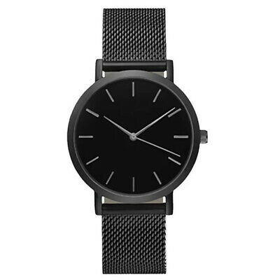 Men Black Ultra Thin Watch Fashion Simple Wrist Watches with Stainless Mesh Band