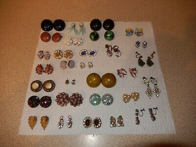 Vintage Earrings Costume Job Lot Of 30 Pairs - Clip On,Screw On,Pierced
