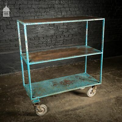 Large Blue Steel Vintage Industrial Wheeled Trolley Mobile Shelving Unit