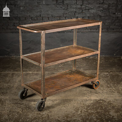 Vintage Industrial Steel Trolley Wheeled Shelving Unit