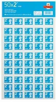 Mint Condition 2nd Class Large Letter Stamps Self Adhesive 50x2 (100 Stamps)