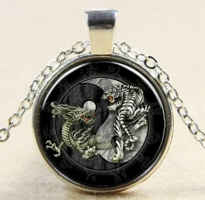 """Sterling Silver Affect Necklace 20"""" Italian chain Pendant DRAGON YIN YANG"""