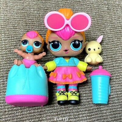 Lol Surprise Doll Neon QT Big Sister & Little Lil Neon QT Sis Set Series 2 Gift