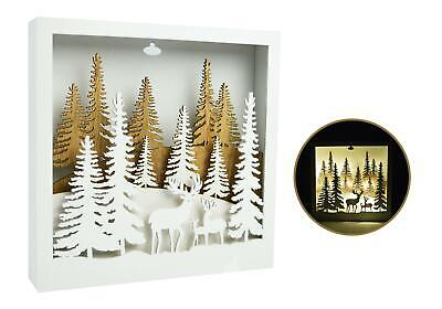 Christmas LED Wall Hanging Art Wood Stag Forest Xmas Decoration Home Decor White