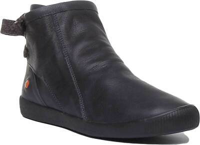 Softinos Womens Soft Leather Ribbon Lace Ankle Boots In Navy UK Sizes 3 - 7