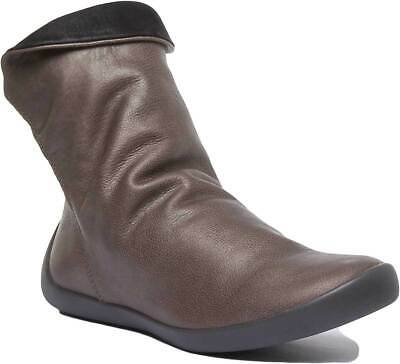 Softinos Womens Soft Leather Ankle Flat Slouch Boots In Grey UK Sizes 3 - 7
