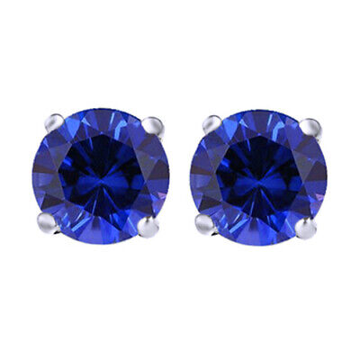 2.1 Ct 18K White Gold Over Created Blue Sapphire Stud Earrings