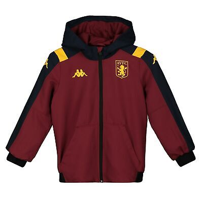 Kappa Official Kids Aston Villa FC Woven Football Tracksuit Top Claret Red