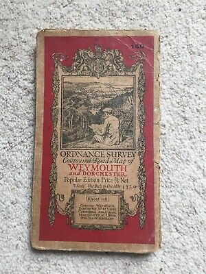 Ordnance survey road map Weymouth and Dorset 1920's