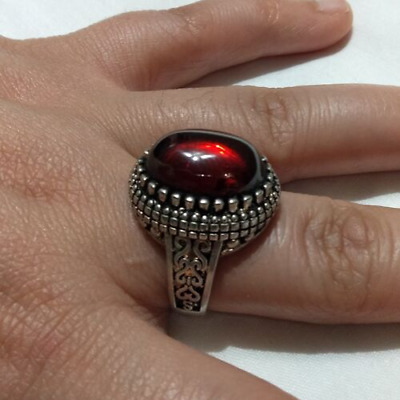 Ancient Antique Victorian Silver Ring Red Royal  Agate Stone Rare Old vintage