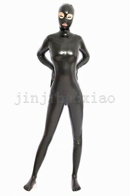 Latex 100%Rubber Gummi Ganzanzug Catsuit Black Mask Hooded Catsuit 0.4MM S-XXL