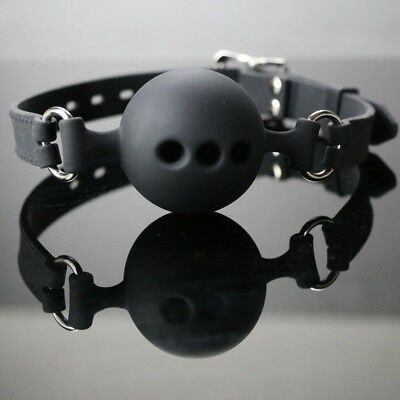 Fixation Mouth Stuffed Leather Restraints Ball Mouth Gag Oral Fetish Toy #HN