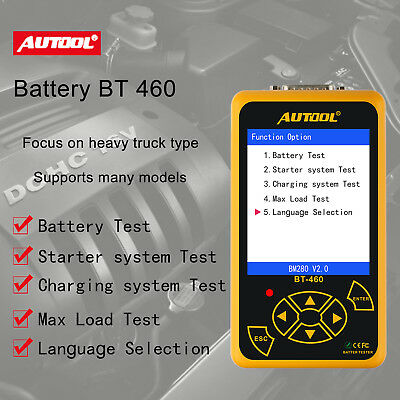 AUTOOL BT460 Battery Tester Charging System Analyzer for 12V Cars & 24V Trucks