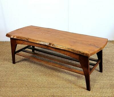 Vintage Mid Century Solid Live Edge Elm Plank and Oak Rustic Large Coffee Table