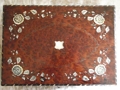 M O P and silver inlaid burr walnut writing slope