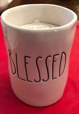 Rae Dunn Artisan Collection by Magenta BLESSED Candle BLACK SCRIPT New