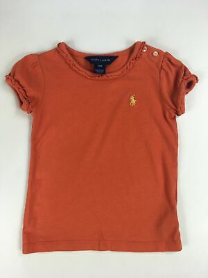 Girls Infant Ralph Lauren Orange Short Sleeve Frilly Edged T-Shirt Top Age 24Mth