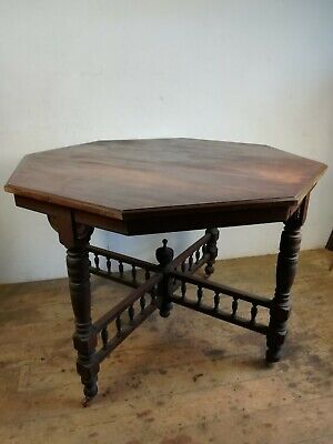 Antique mahogany Table Turned legs casters octagonal old Edwardian restoration