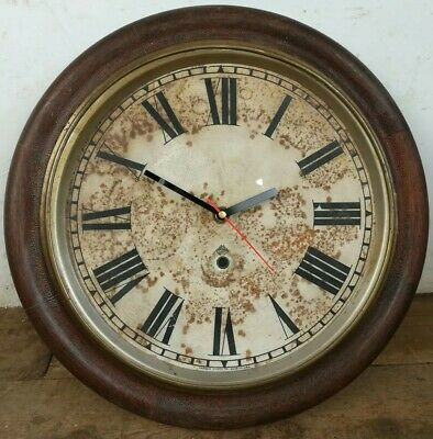 Antique wall clock face converted mahogany wood brass rim old