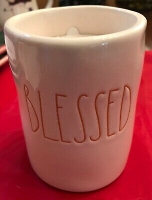 Rae Dunn Artisan Collection by Magenta BLESSED Candle ORANGE SCRIPT New