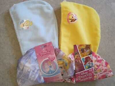 2  Shower Caps  & 2 Hair Wraps Disney Princess Characters