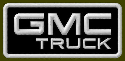 "GMC TRUCK EMBROIDERED PATCH ~3-1/2"" x 1-5/8"" BRODÉ MUOKKAA SIERRA PICKUP CANYON"