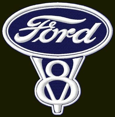 "FORD V8 EMBROIDERED PATCH ~4-1/4"" x 4-1/4"" RACING BORDADO PARCHE AUFNÄHER F150"