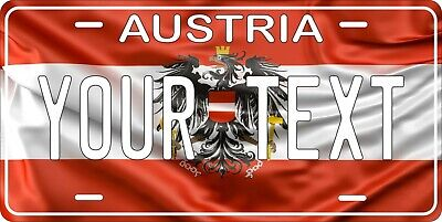 Austria Flag Wave License Plate Personalized Car Bike Motorcycle Custom Tag